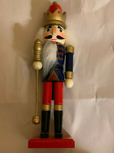 """Red Blue & Gold 7"""" Nutcracker with Stand"""
