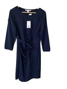 BNWT DVF Signature Navy Silk Wrap Dress US10 UK 14