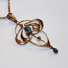 Victorian Turquoise  9ct Rose Gold Lavaliere Necklace Pendant with Chain