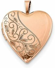 Jewelryweb 925 Sterling Silver Rose Gold Plated Swirl and Polished Heart Locket