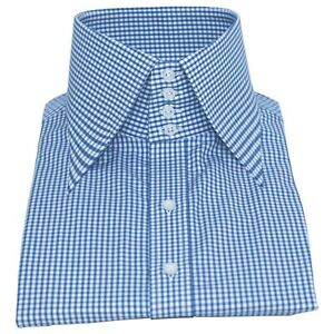 """Men's High Long Spear Point 3"""" Collar 4 Buttons Blue Gingham 100% Cotton Shirt"""