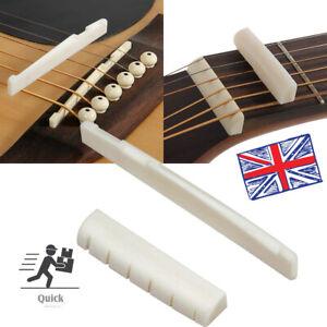 Natural Bone Bridge Saddle 72mm End Nut 43mm Part Slotted for Acoustic Guitar UK