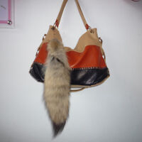 1pc Real Bush Wolves wolf coyote tails Keychains Fur Tassel bag charm Keyring US