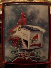 Leanin Tree Christmas Card Set Beautiful Christmas Mailbox W/ Cardinals 12Pk New