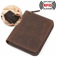 RFID Herren Leder Brieftasche Münze Kartenhalter Tasche Reißverschluss Geldbörse