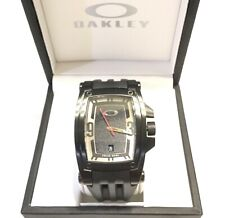 NEW RARE OAKLEY WARRANT WATCH   Stealth ~ Stainless ~ Swiss Made ~ Black Dial