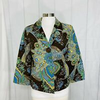 Silkland Women's S Jacket Blazer 100% Silk Brown Green Floral Paisley Button #X