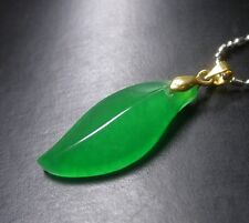Gold Plate CHINESE Green JADE Pendant Teardrop With Chain 256703