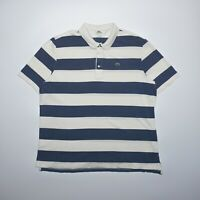 Lacoste Men's Blue Striped Short Sleeve Collared Pique Cotton Polo Shirt 3XL