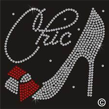 Chic Stiletto High Heel Bow Rhinestone Diamante Transfer Iron On Hotfix Motif