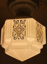 Vintage Art Deco European Ceiling Mount Light Fixture Porcelain Stripped Base