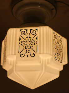 Vintage Art Deco European Ceiling Mount Light Fixture Porcelain Stripped Base