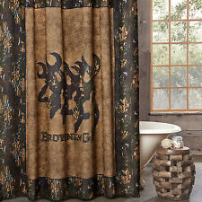 """Browning 3D Buckmark Fabric Shower Curtain Camouflage 72"""" x 72"""" Rustic Country"""