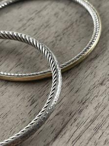 DAVID YURMAN Cable Hammered Stackable Bangle, Med 925 Sterling 2.5mm Bracelet