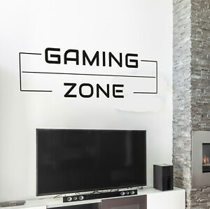 Vinyl Wall Decal Inspiring Gaming Zone Play Room Stickers 35 in x 12 in gz241