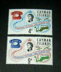 Q.E.II 1966 M/NH SET OF 2 CAYMAN ISLANDS TELEPHONE LINKS ONLY 59p