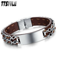 TTstyle Leather Stainless Steel ID Chain Bracelet Wristband Black/Brown NEW
