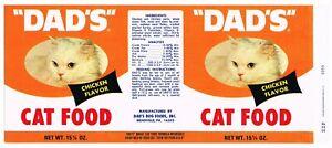 VINTAGE CAN LABEL RARE DOG CAT PET FOOD DADS PENNSYLVANIA ORANGE CHICKEN GENUINE