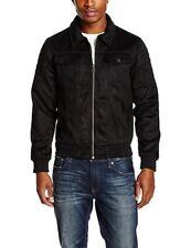 Mens Criminal Damage Suedette Biker Jacket Black Large CS084 BB 08
