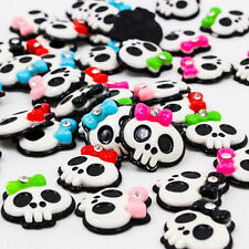 Flatback Charms Cute Girl Skull with Bow and Rhinestone pk 5 cabochons resin