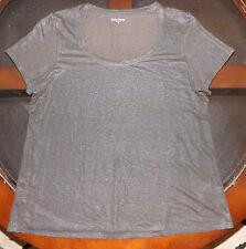 EILEEN FISHER Womens Short Sleeve T-Shirt 100% Linen Size Medium Dark Brown