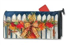 Autumn Gate Mail Box Wrap wreath bow fence magnetic mailwrap mailbox cover