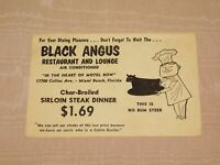 VINTAGE BLACK ANGUS RESTAURANT & LOUNGE MIAMI BEACH FLORIDA MENU / POSTCARD