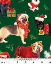 Fat Quarter Pedigree Dogs Christmas Quilting Fabric - Benartex
