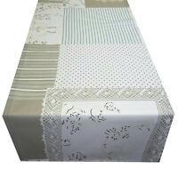 Tischläufer Tischdecke beige Patchwork Landhaus Baumwolle Stoff 130 x 40 cm
