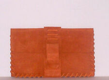 Leather Suede Western Money Belt Pouch Wallet Handmade Laced Edge Rust Color