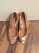 Gorgeous Gold Leather Peep Toe Heels River Island Size 4 Immaculate
