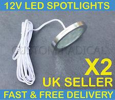 X2 VW T4 T5 TRANSPORTER CAMPER VAN BOAT 12V INTERIOR LED SPOT LIGHTS SLIM FLUSH