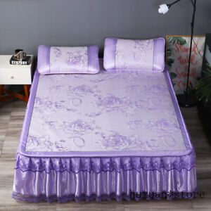 3PCS Lace Bed Skirt Ice Silk Bedding 3 Pcs Jacquard Seat Detachable Folding Set
