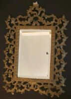 Victorian Era Table Wall Beveled Mirror Frame Ornate Rococo Style Heavy Metal