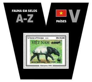 Sao Tome & Principe Stamps-on-Stamps 2020 MNH Fauna Vietnam Tapirs SOS 1v S/S