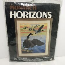 """Monarch Horizons Long Stitch Canadian Geese 16""""x20"""" Size Person Wool Embroidery"""