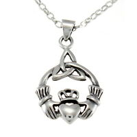 """Sterling Silver Claddagh Celtic Pendant with 18"""" Chain & Box"""
