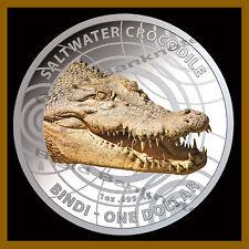 Australia 1 Dollar Silver Coin, 2013 Color Saltwater Crocodile Bindi Steve Irwin