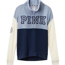 NWT VICTORIA SECRET PINK VARSITY QUARTER ZIP CREWNECK LIGHT/DARK BLUE & WHITE, M