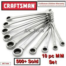 CRAFTSMAN 10 pc COMBINATION RATCHETING WRENCH SET POLISHED METRIC MM 6MM-18MM