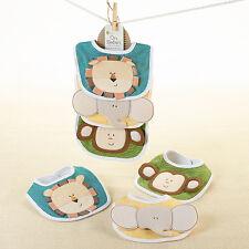 On Safari Jungle Themed 3-Pack Animal Bib Set Baby Shower Gift