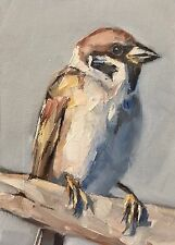 ACEO Original Oil Painting, Bird, Sparrow by Gary Bruton