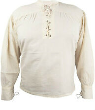 Pirate Shirt Lace-Up Stand up Collar Medieval Knight Larp Bondageshirt New