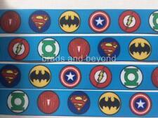 "BB Ribbon SUPERHERO SYMBOL CIRCLES BLUE 2m grosgrain 7/8"" 22mm heroes"