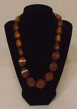 "Light Brown Chunky Large Beaded Necklace 21"" Long Very Nice"