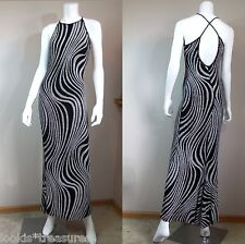 Gunne Sax Jessica McClintock black silver wiggle pencil maxi dress gown 7/8