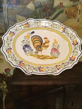 "French HB Henroit Quimper Platter 15 1/2"" x 11"" French Chicken Floral Signed"