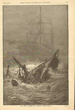 Newfoundland, Fishing Boat Run Down On St. George's Banks, 1883 Antique Print.