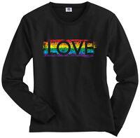 Threadrock Women's Gay Pride Rainbow Love Long Sleeve T-shirt lesbian LGBT