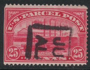 Scott Q9- Used- 25c Manufacturing, US Parcel Post Stamp- 1912-13 Back of Book